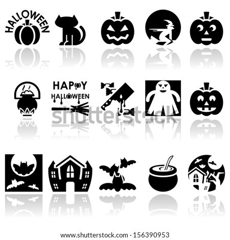 Halloween vector icons set. EPS 10 - stock vector