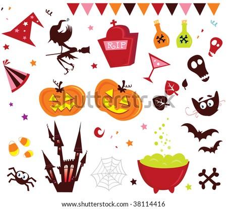 Halloween vector Icons set III. Halloween vector icons in red color. - stock vector