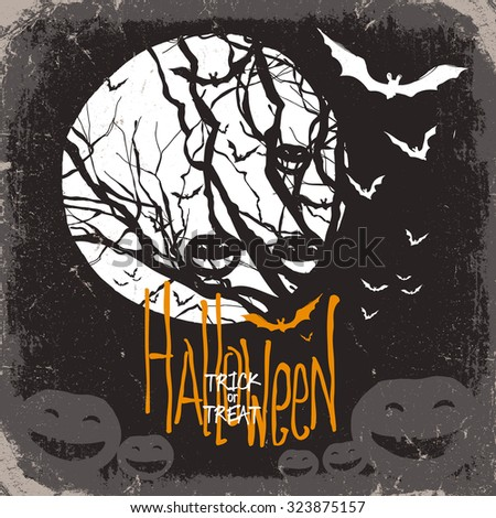 Halloween vector illustration. Dry tree, full moon and pumpkins and bats - stock vector