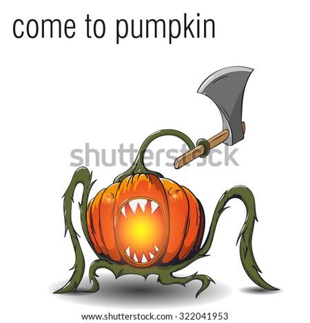 Halloween. Vector illustration. Pumpkin with an ax - stock vector