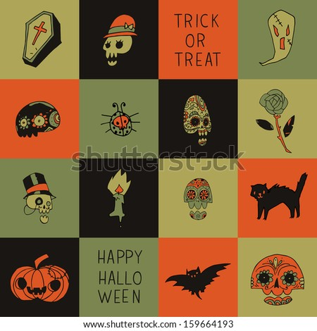 Halloween vector pattern for web page backgrounds, postcards, greeting cards, invitations, pattern fills, surface textures. - stock vector