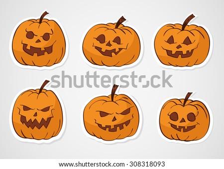 Halloween vector set of pumpkins stickers. Color. - stock vector