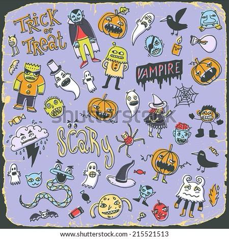Halloween vintage colorful creatures doodle mega set. Hand drawn vector illustration. - stock vector