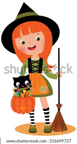 Halloween Witch and her cat on a white background/Little witch and her cat on Halloween/Illustration of red-haired witch and her cat Halloween - stock vector