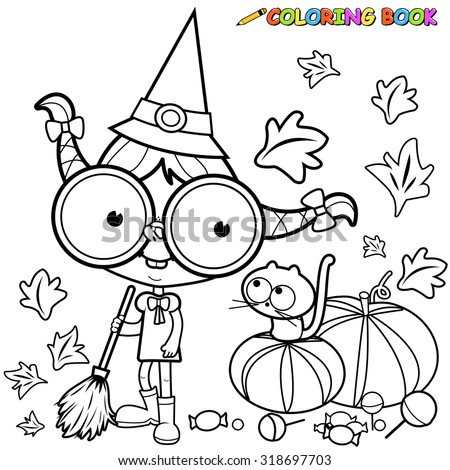 Halloween witch and her cat sweeping pumpkin leaves with her broom.  - stock vector