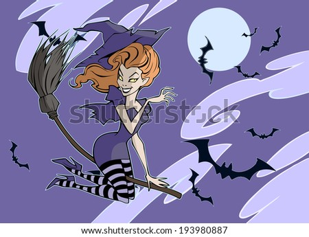 Halloween witch flying on a broomstick - stock vector