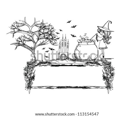 Halloween witch preparing potion - doodle - stock vector