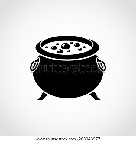 Halloween witch's cauldron Icon Isolated on White Background - stock vector