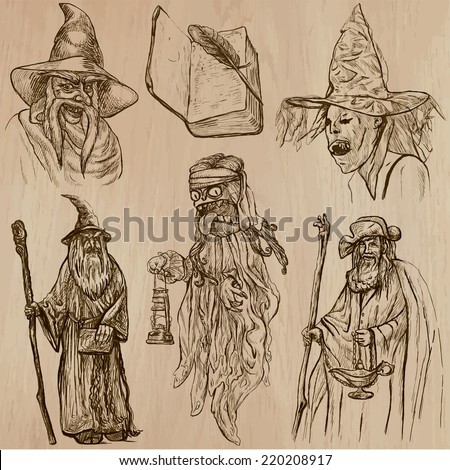 Halloween (Witches and Wizards) - Collection (no.1) of an hand drawn illustrations. Description: Each drawing comprise of three layer of outlines, the colored background is isolated. - stock vector