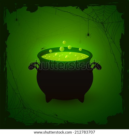 Halloween witches cauldron with green potion and spiders on dark background, illustration. - stock vector