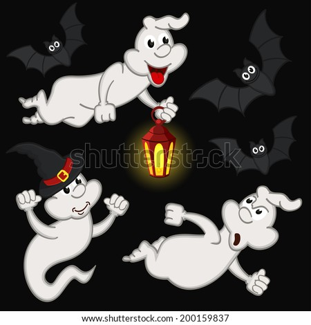 halloween with ghost and bats - vector illustration, eps - stock vector