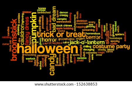 Halloween word cloud vector on black background with words related to halloween - witch, trick or treat, candy, pumpkin, halloween, knocking and similar - stock vector