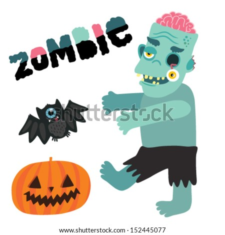 Halloween zombie monster character with pumpkin and bat. - stock vector