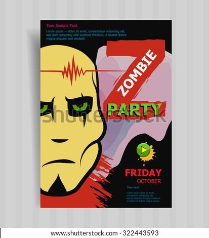 Halloween Zombie Party invitation Poster. Halloween Vector illustration. - stock vector