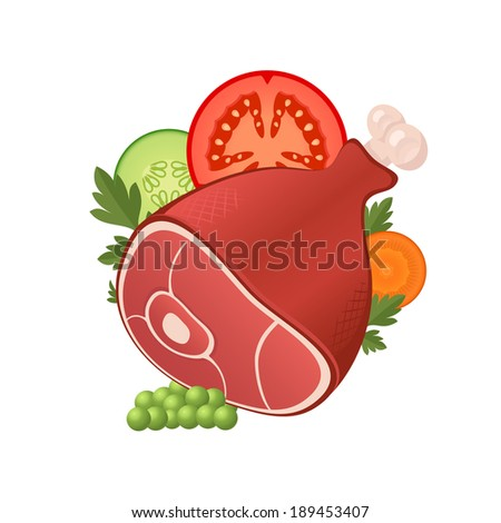Ham meat with sliced vegetables, nice food icon illustration - stock vector
