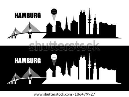 Hamburg skyline - vector illustration - stock vector