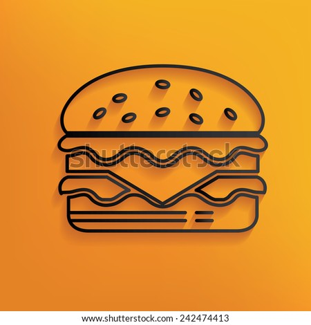 Hamburger design on yellow background,clean vector - stock vector