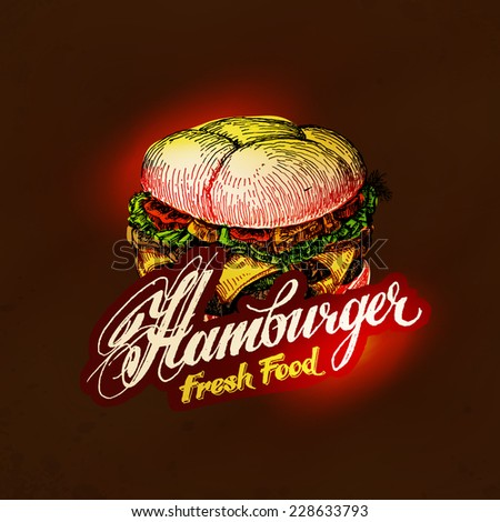 hamburger,  fast food. Hand drawn sketch vector illustration - stock vector