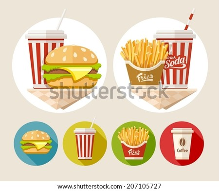 Hamburger, french fries and soda drink in paper cup flat icons set. Eps10 vector illustration - stock vector