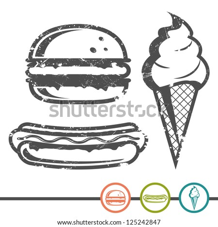 Hamburger, hot dog, ice cream in a wafer cone in grange style and an inking - stock vector