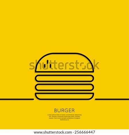 Hamburger icon on a yellow background. Fast Food. Calories and fatty foods. Outline. minimal. - stock vector