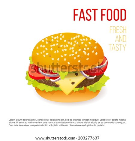 Hamburger icon over white background - stock vector