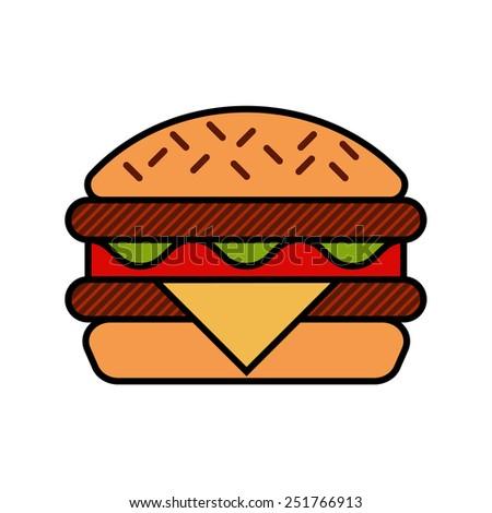 Hamburger icon with meat, lettuce, cheese and tomato modern concept vector flat style - stock vector