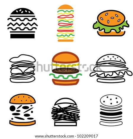 hamburger icons vector set - stock vector