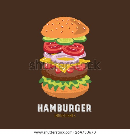 Hamburger Ingredients Icons - freehand drawing vector illustration - stock vector