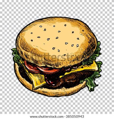 Hamburger isolated hand sketch. Fast food illustration. Sketch vector illustration. Fast food restaurant, fast food menu. Hand drawn hamburger isolated. Colorful food, isolated. Vector illustration. - stock vector