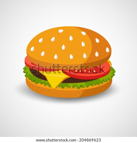Hamburger isolated on white background - stock vector