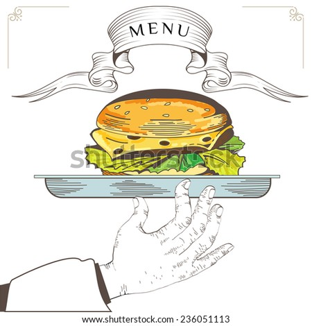 Hamburger menu design. Element for an restaurant with the hand of a waiter carrying a tray. Loaded with an Hamburger on white background. Serve food. Eps 8 - stock vector