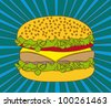 hamburger over blue background, pop art. vector illustration - stock vector