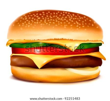 Hamburger. Vector. - stock vector