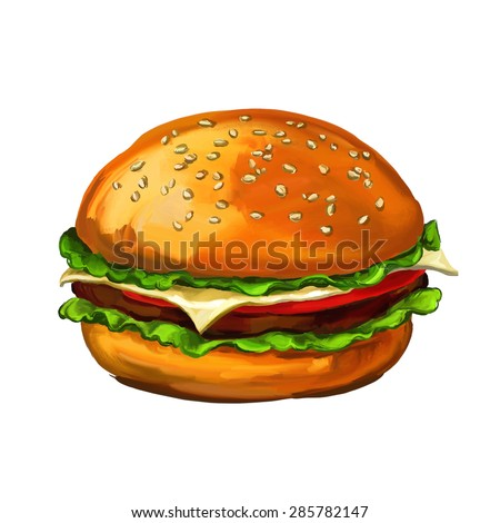 hamburger  vector illustration  hand drawn  painted watercolor  - stock vector