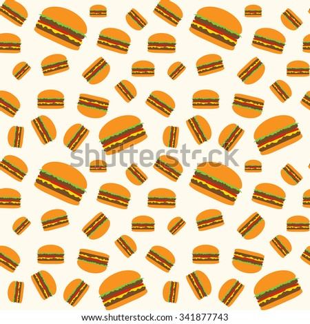 Hamburger vector pattern on beige background. Big medium small cheeseburgers pattern. Seamless pattern. Fast food pattern. Hamburgers pattern. Burger and Fast food background. Juicy burger vector. - stock vector