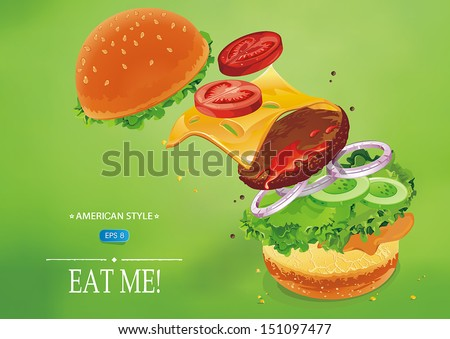 Hamburger with cheese, lettuce, onion and meat. Flying ingredients of burger. Fastfood Vector illustration - stock vector
