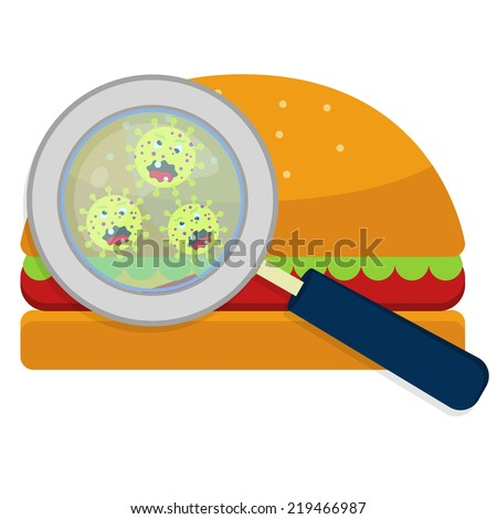 Hamburger with germs. Magnifying glass showing germs on hamburger. White background. - stock vector