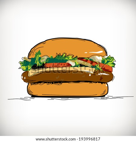 hamburger with meat, cheese and tomato vector - stock vector