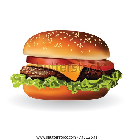 hamburger with meat, lettuce, cheese and tomato - stock vector