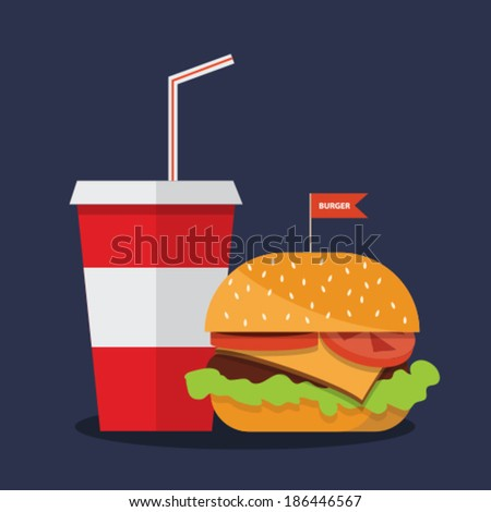 hamburger with soda - stock vector