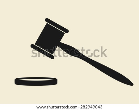 hammer and anvil, symbols of law - stock vector