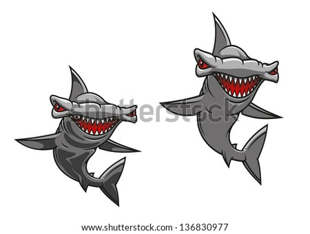 Hammer fish shark in cartoon style for mascot design. Jpeg (bitmap) version also available in gallery - stock vector