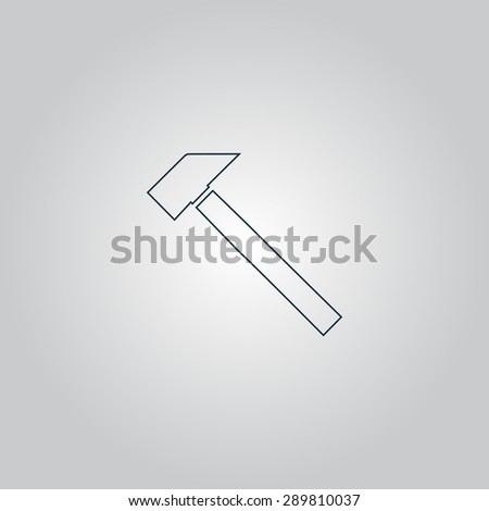 Hammer. Flat web icon or sign isolated on grey background. Collection modern trend concept design style vector illustration symbol - stock vector
