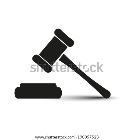 Hammer judge icon - stock vector