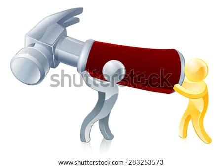 Hammer people illustration of two people holding a giant hammer - stock vector