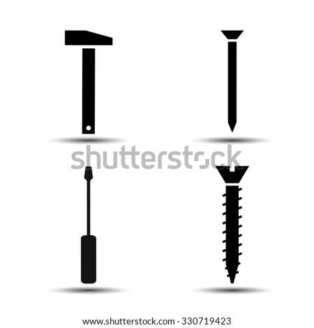 hammer with a nail and a screw with a screwdriver. set of vector icons - stock vector