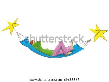 hammock and  stars - stock vector