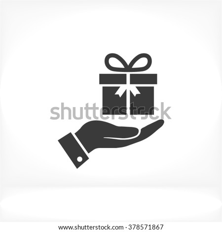 Hand a present Icon, hand a present icon flat, hand a present icon picture, hand a present icon vector, hand a present icon EPS10, hand a present icon graphic, hand a present icon object - stock vector