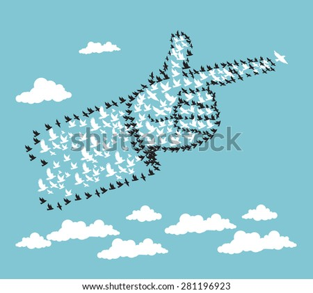 Hand abstract illustration by Birds leadership concept-vector - stock vector